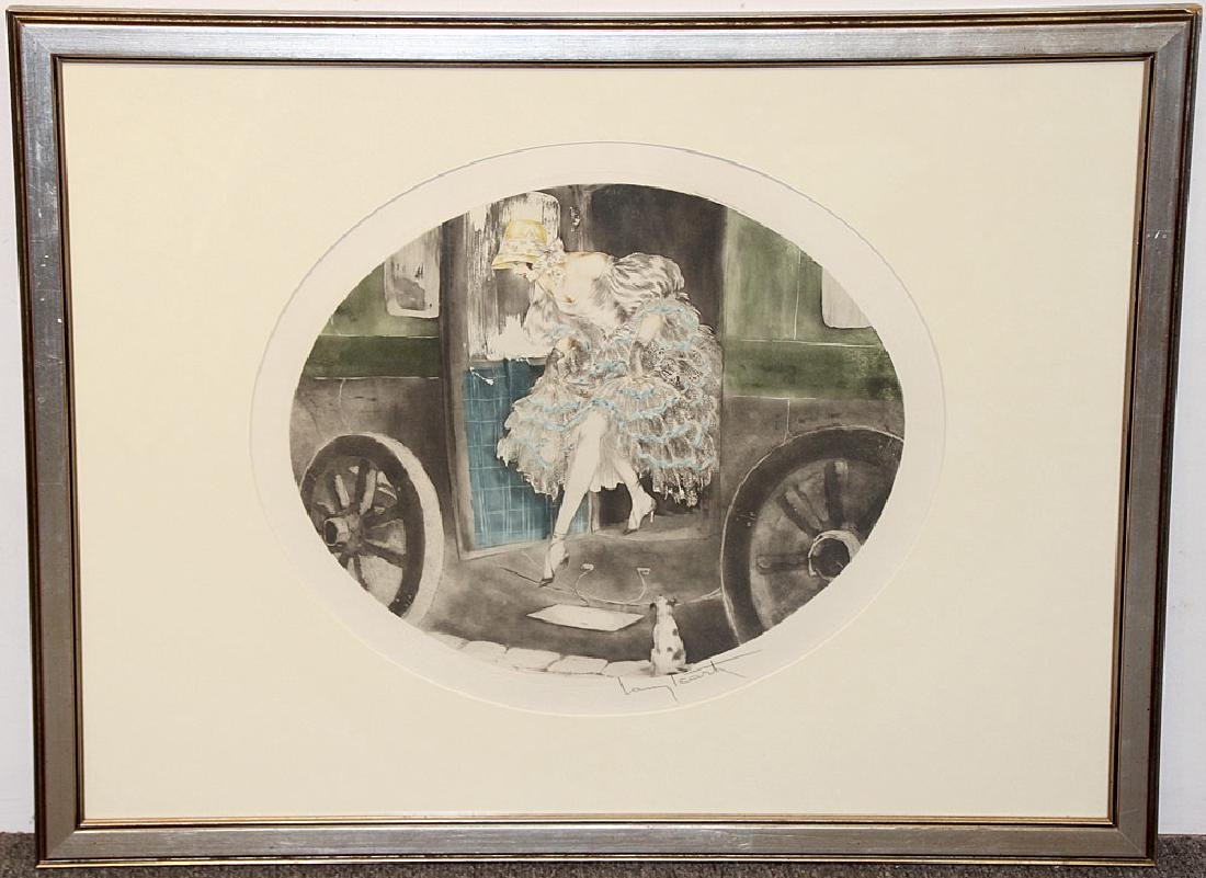 Louis Icart Etching, Woman Exiting Car