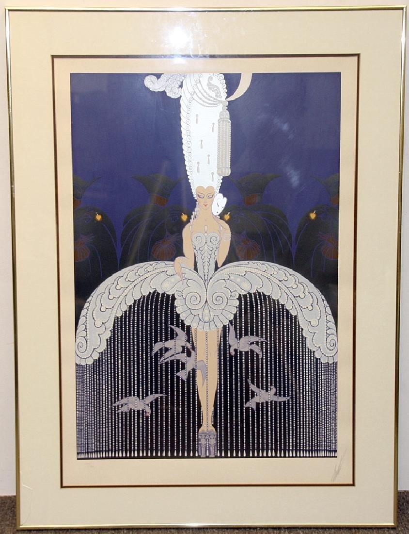Pencil-Signed Erte Serigraph, Art Deco Woman