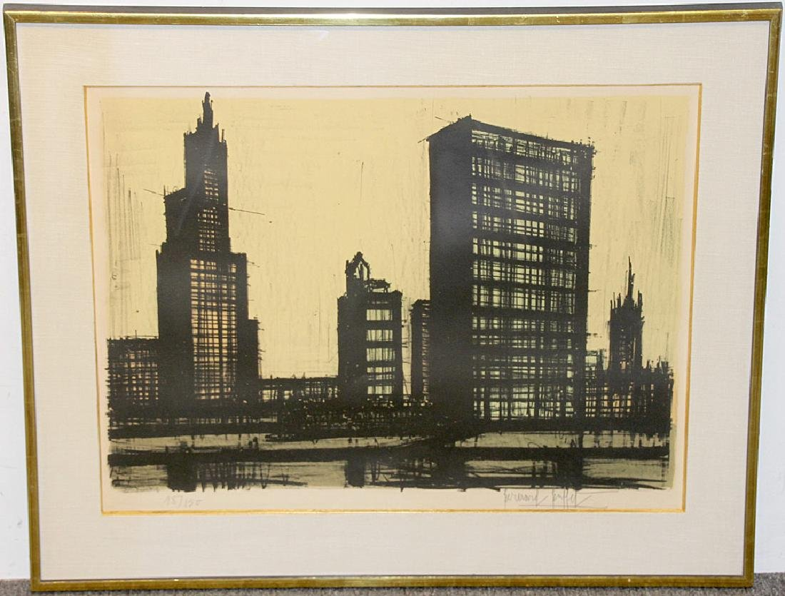 Bernard Buffet Color Lithograph, Cityscape