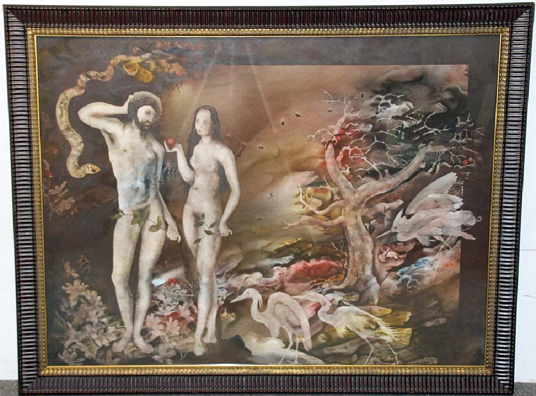 John Wissemann Watercolor, Adam and Eve