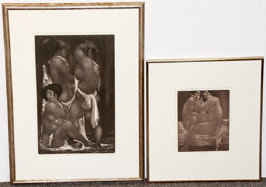 Two Amerigo Tot Aquatint Etchings