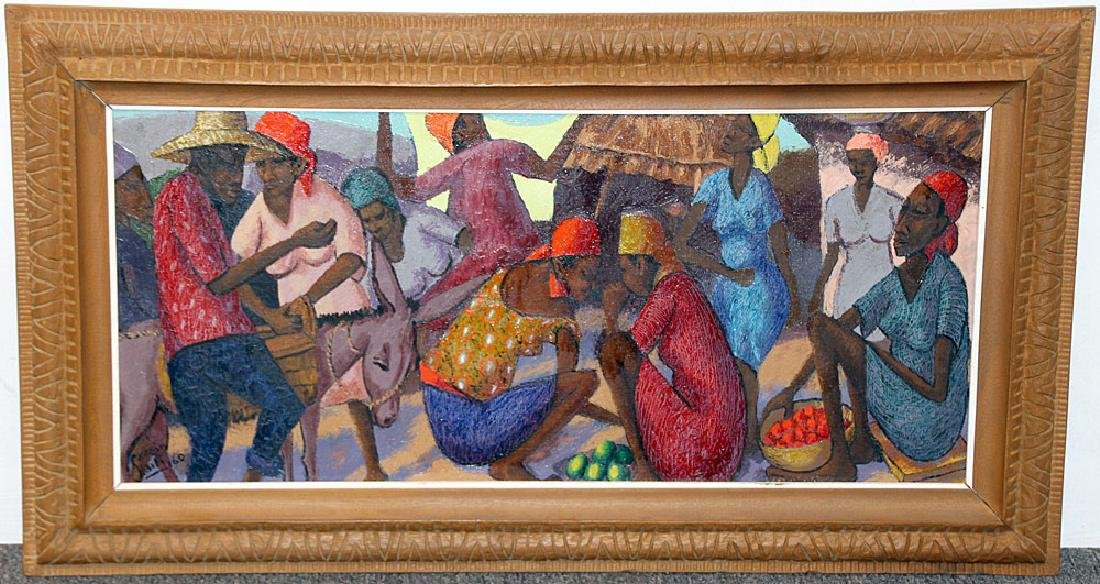 Petion Savain Oil on Canvas, Market Scene