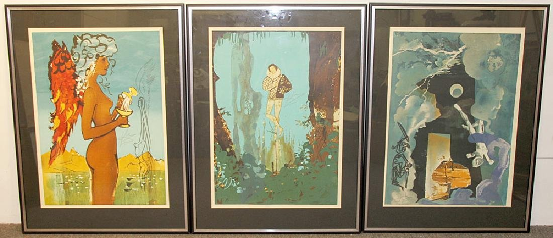 3 Salvador Dali Lithographs, The Trilogy of Love