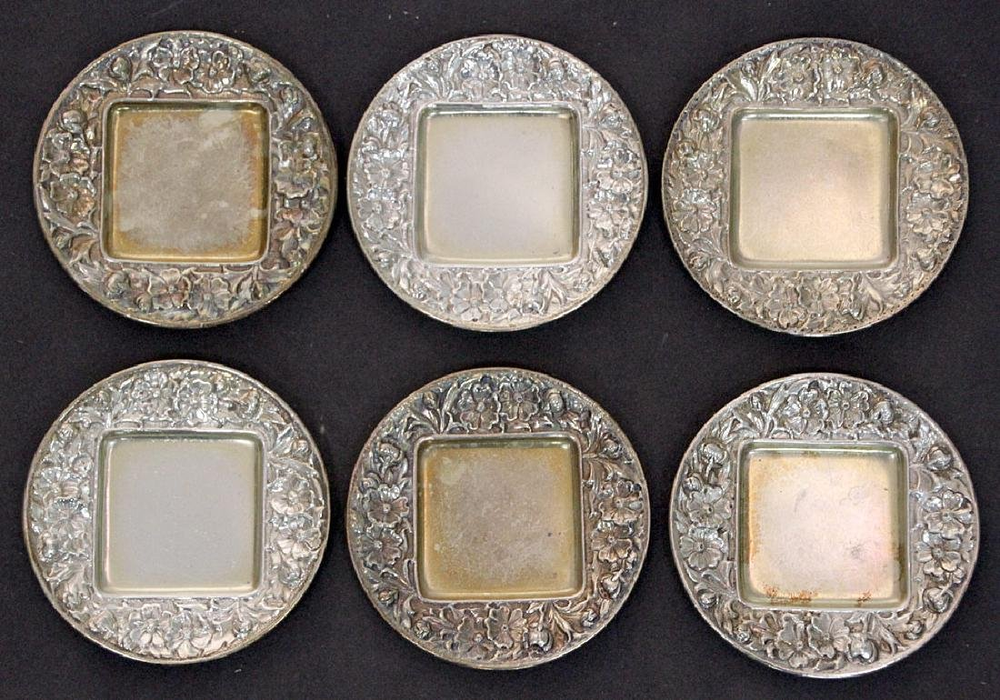 Six Gorham Sterling Silver Repousse Trays