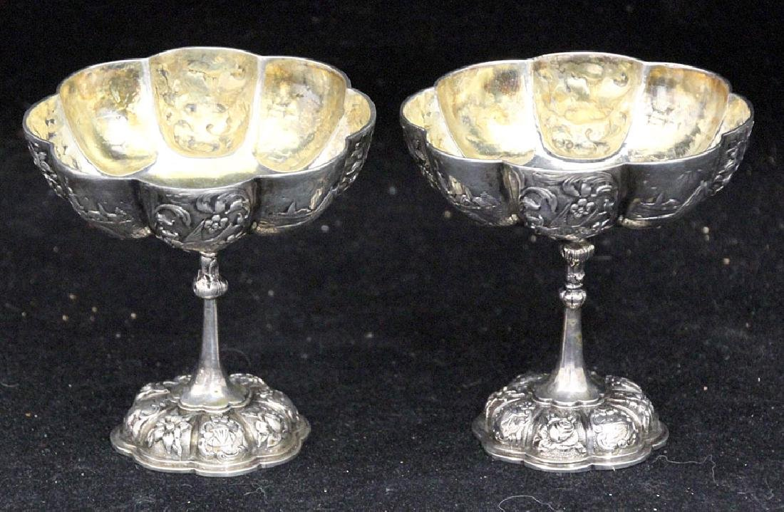 Pair of 800 Silver Repousse Compotes