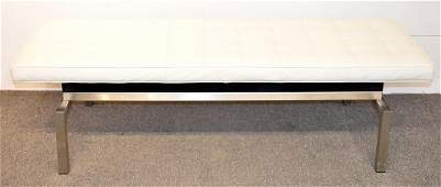 Modern Tufted White Leather Bench