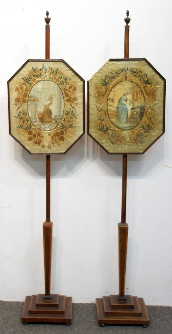 Pair of Regency Silk Embroidered Fire Screens