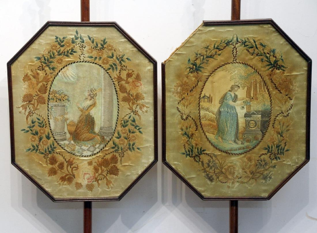 Pair of Regency Silk Embroidered Fire Screens - 2