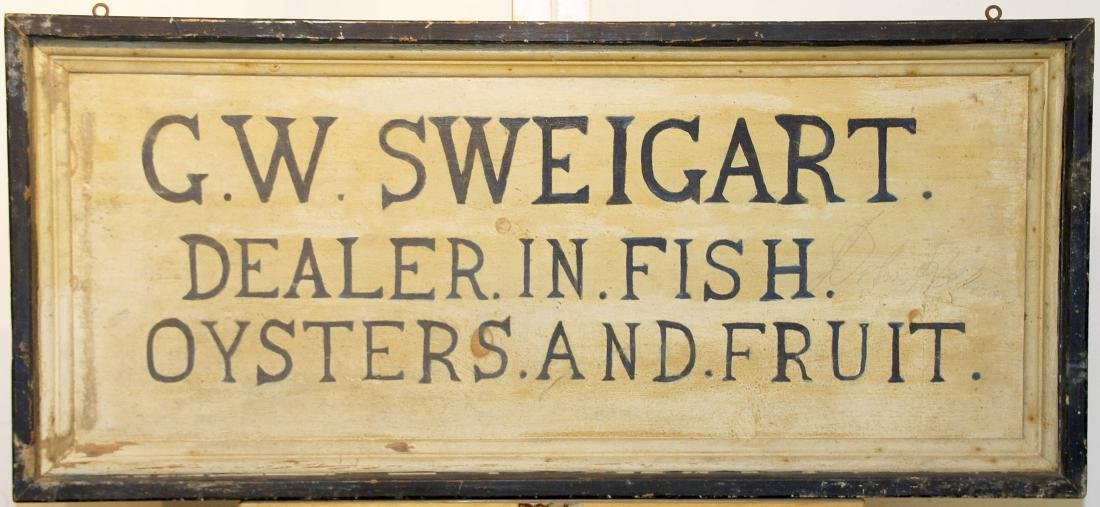 G.W. Sweigart Painted Trade Sign