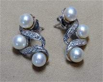 Pearl and Diamond Earrings in 14K White Gold