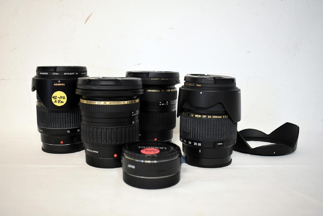 5 Assorted Tamron Lenses & Lens Hood