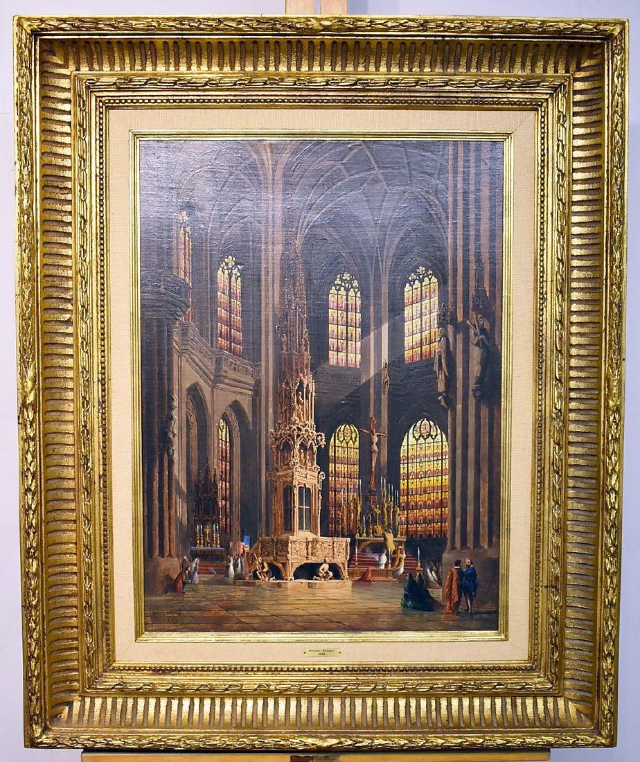 Herman Schaper. Oil on Panel, Cathedral Interior