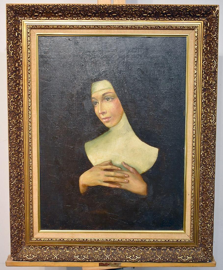 Pinot. Oil on Canvas, Portrait of Nun