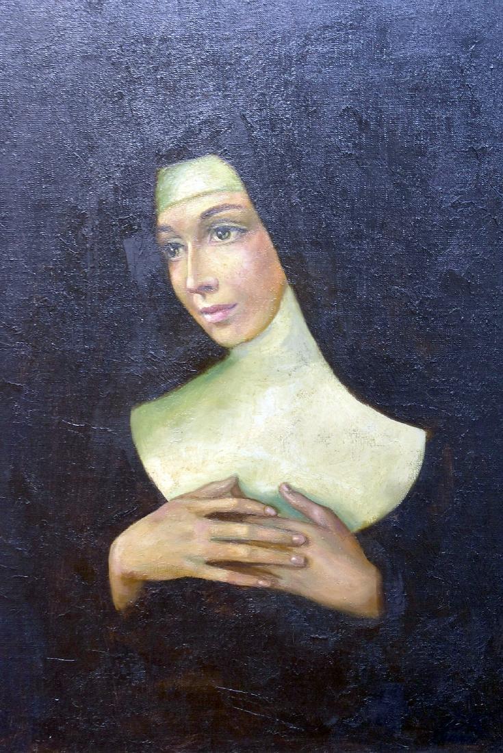 Pinot. Oil on Canvas, Portrait of Nun - 2