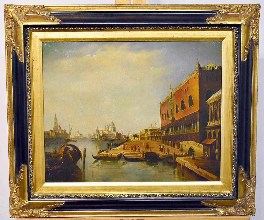 J. Aldrich. Oil on Panel, Venetian Harbor Scene