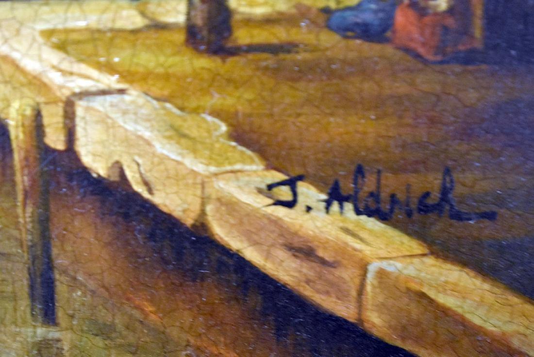 J. Aldrich. Oil on Panel, Venetian Harbor Scene - 3