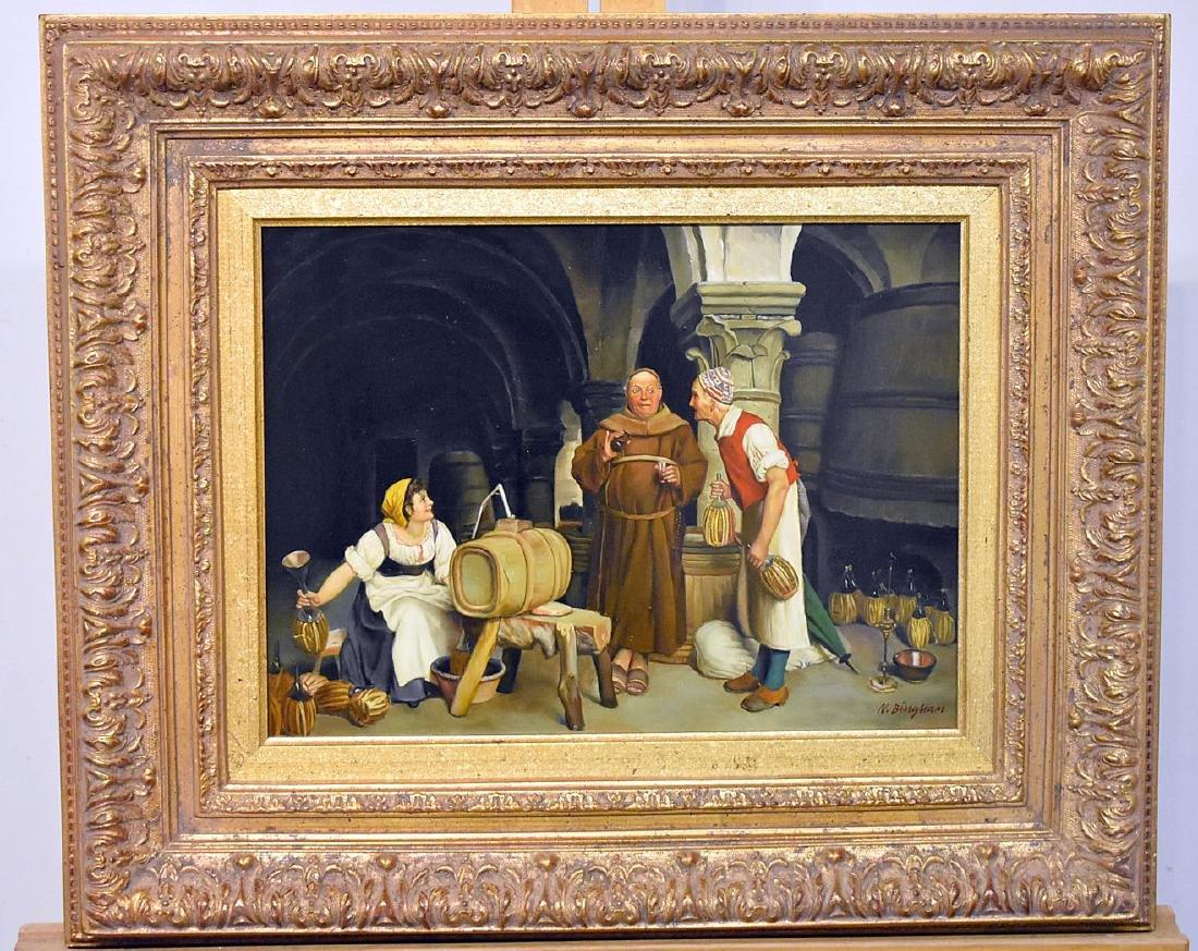 N. Bingham. Oil on Panel, Winemaking