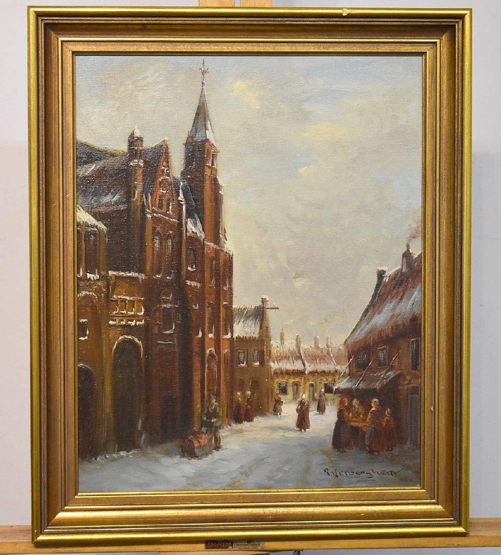 P. Verberghem. Oil/Canvas, Winter Village Scene