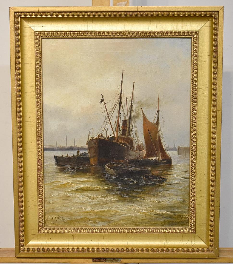 Edward Henry Fletcher. Oil on Canvas, Harbor Scene