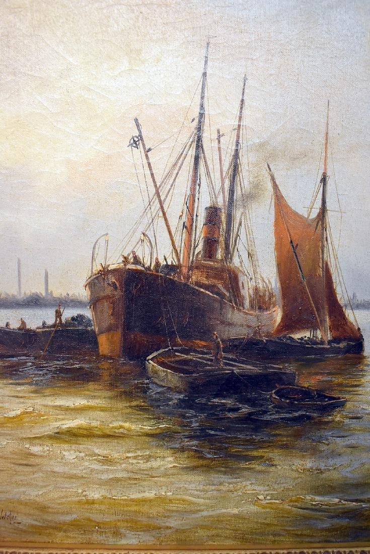 Edward Henry Fletcher. Oil on Canvas, Harbor Scene - 2