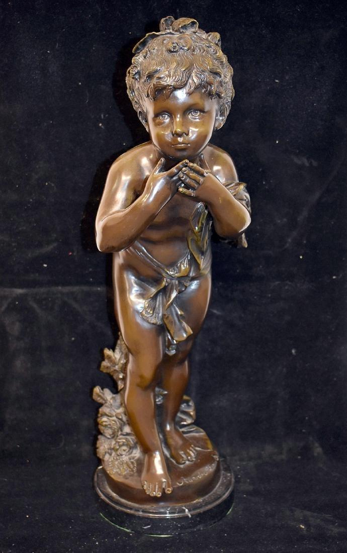 After Auguste Moreau. Bronze Sculpture, Child
