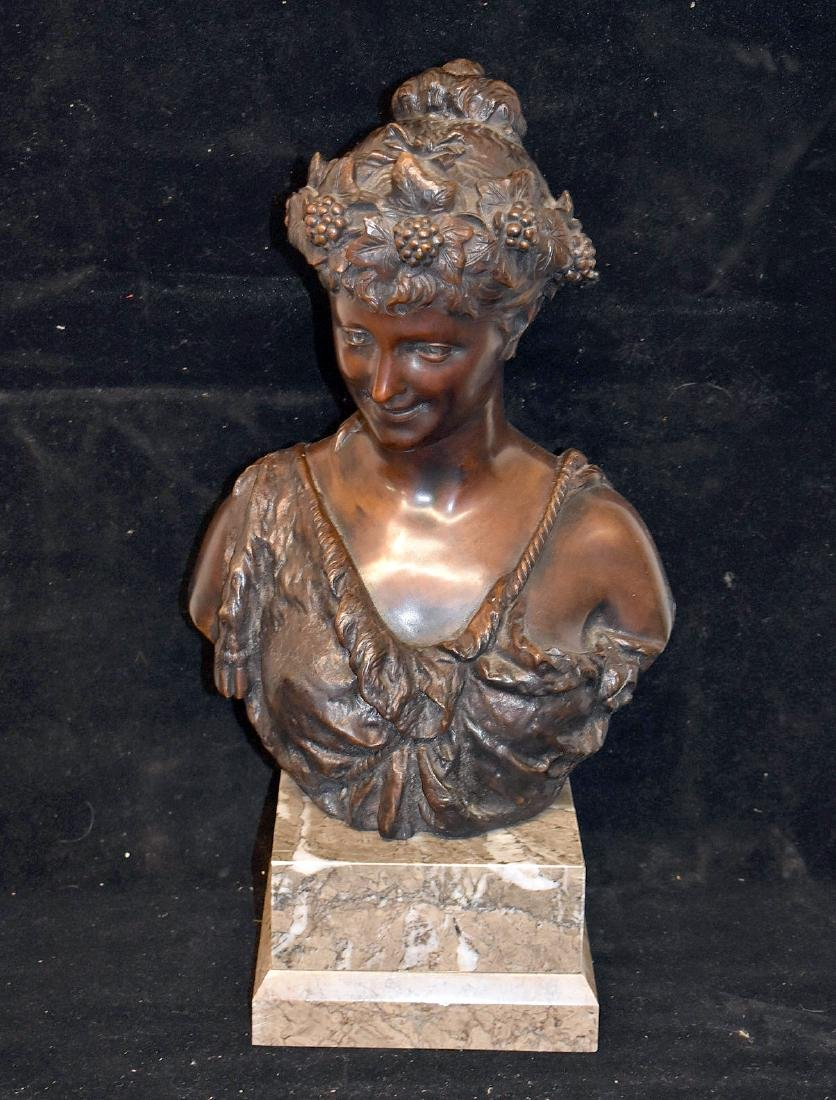 F. Deluca. Patinated Bronze Bust of a Maiden