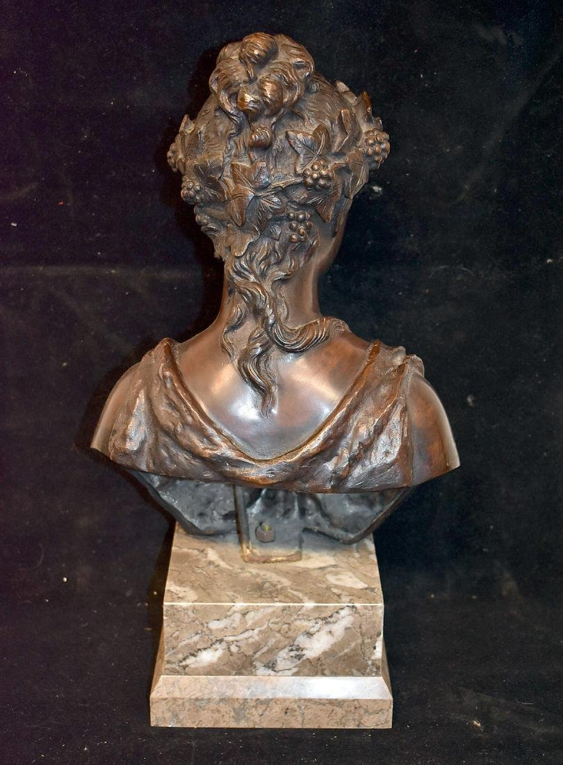 F. Deluca. Patinated Bronze Bust of a Maiden - 3
