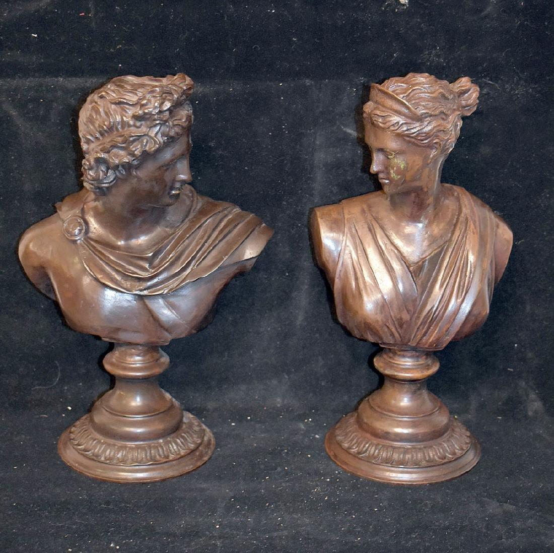 Pair of Bronze Sculptural Busts