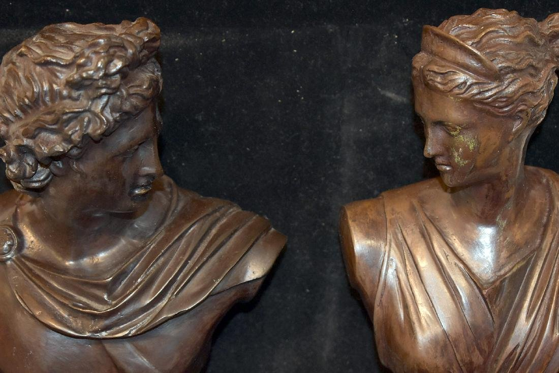 Pair of Bronze Sculptural Busts - 2