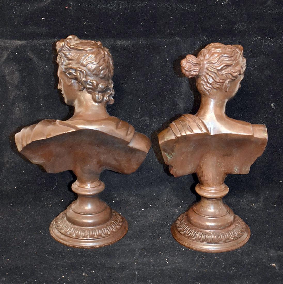 Pair of Bronze Sculptural Busts - 3