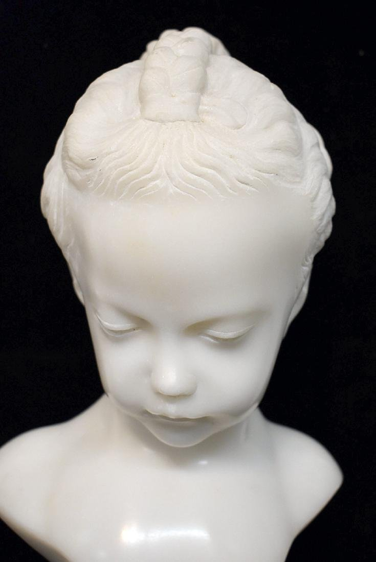 Carved White Marble Bust - 2