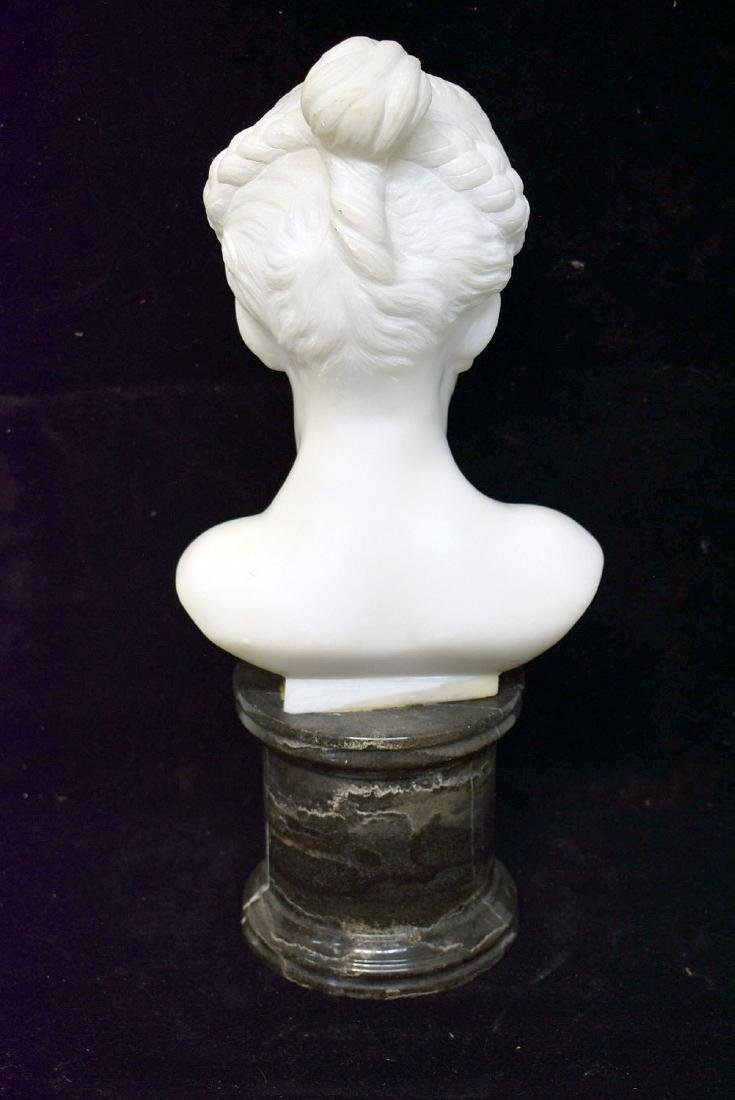 Carved White Marble Bust - 3