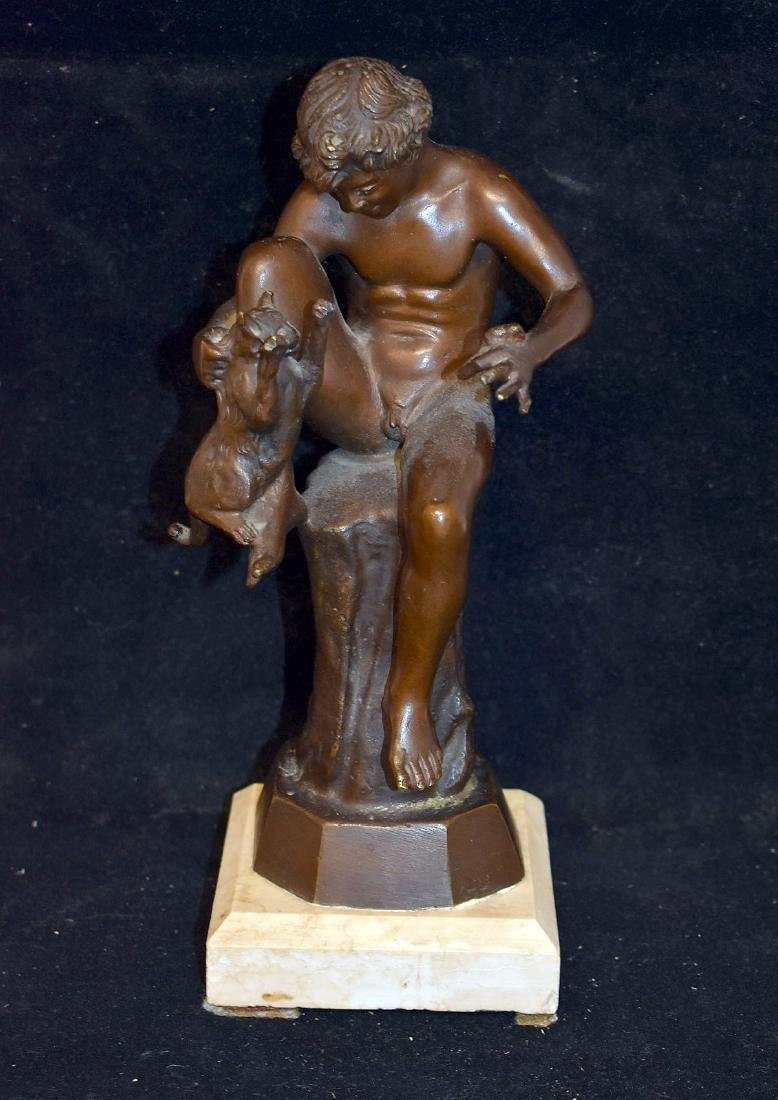 Bronze Sculpture, Child with Cat