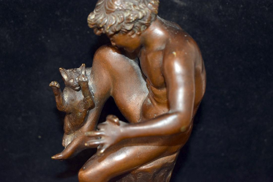 Bronze Sculpture, Child with Cat - 2