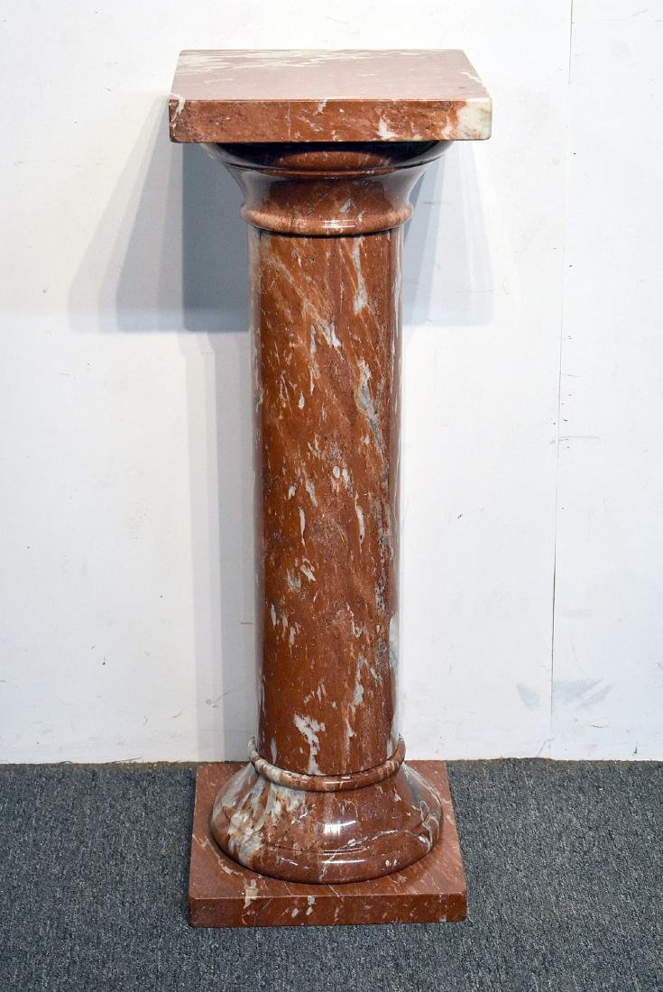 Four-Piece Turned Red Marble Pedestal
