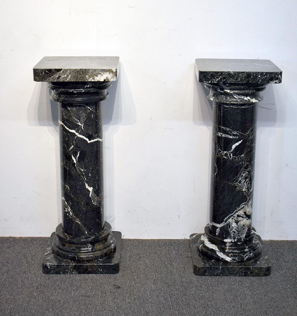 Pair of Five-Piece Turned Marble Pedestals