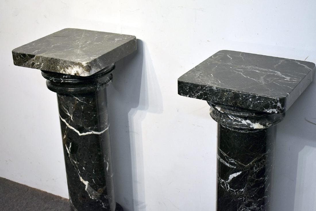 Pair of Five-Piece Turned Marble Pedestals - 2