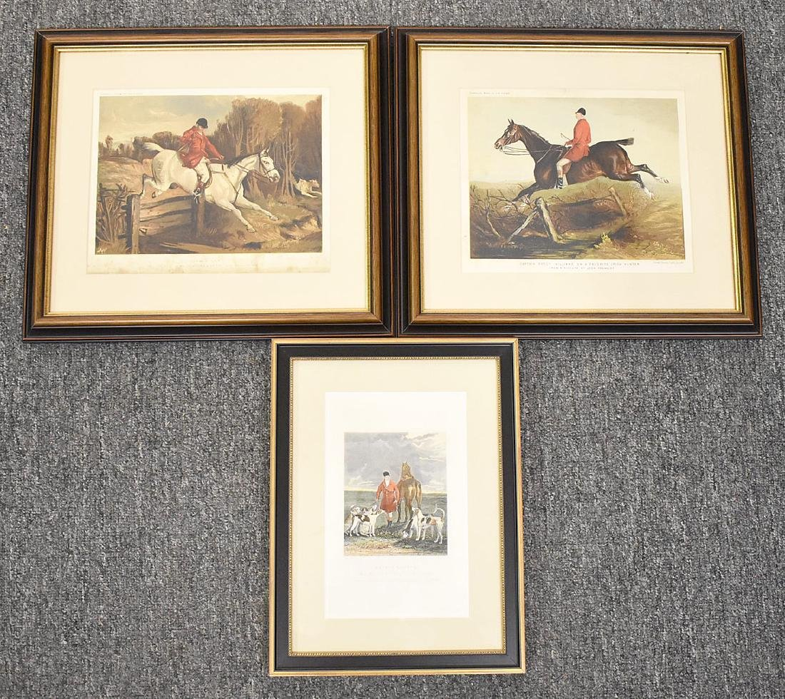 Two Hunt Scene Lithographs and Engraving