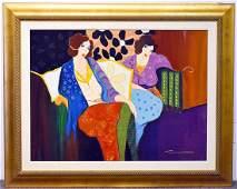 Itzchak Tarkay. Oil on Canvas, A Brief Respite