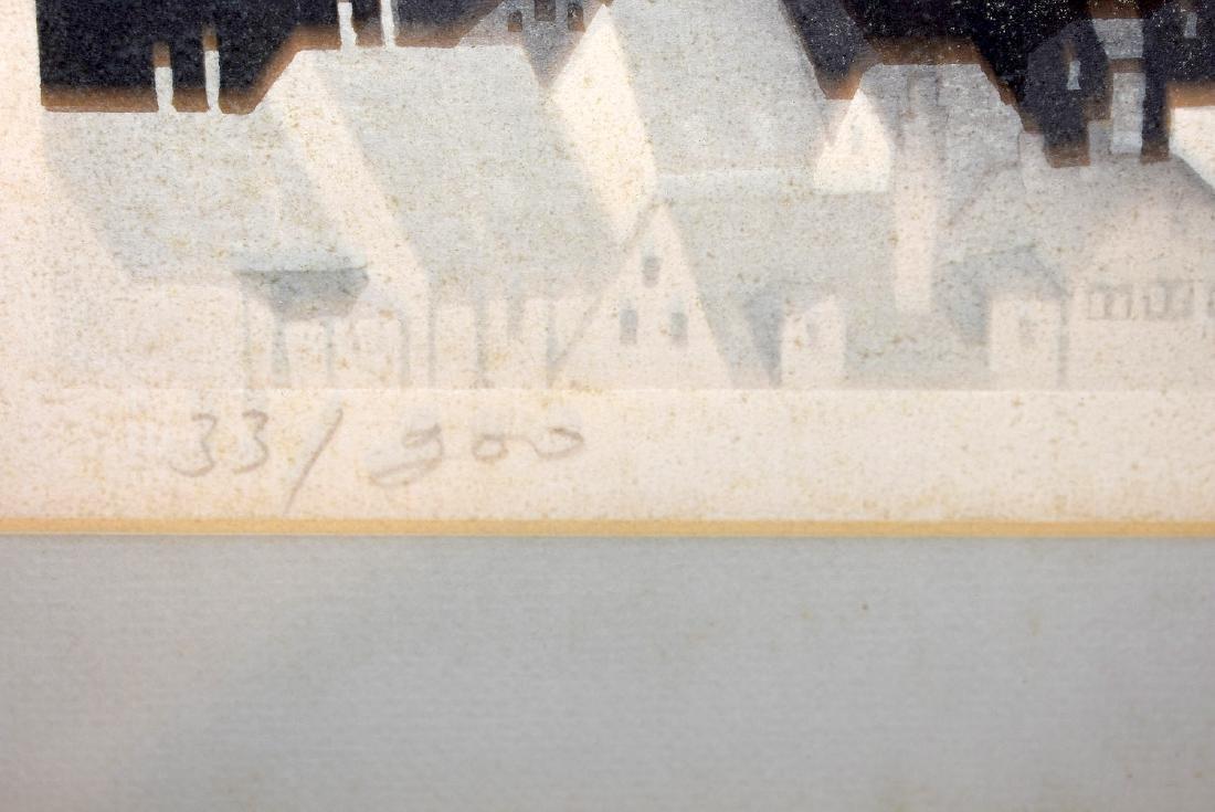 Jan Sekimo. Japanese Woodblock Print, Cityscape - 4