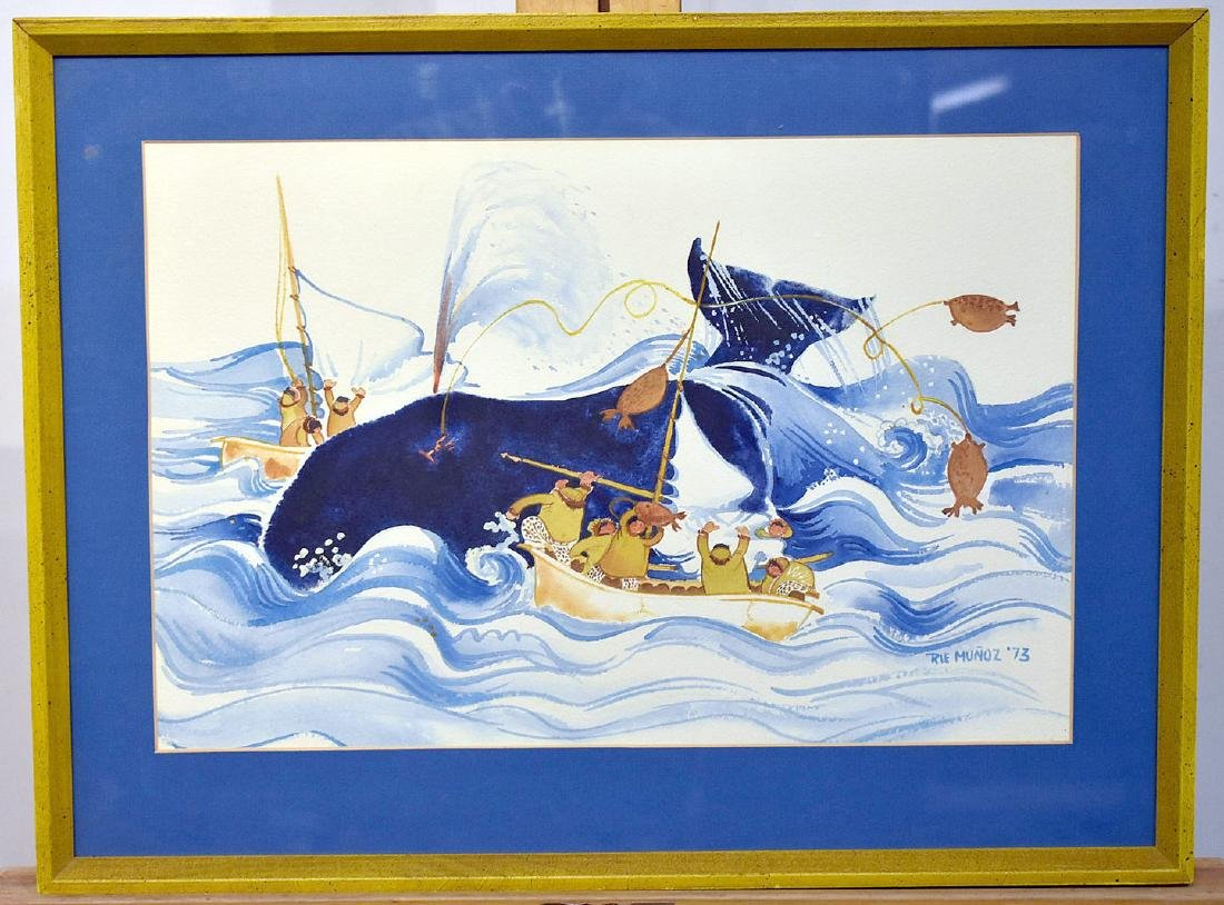 Rie Munoz. Watercolor, Whaling Scene