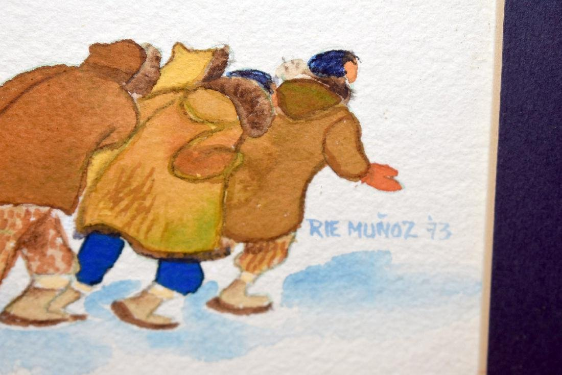 Rie Munoz. Watercolor, Butchering the Whale - 3