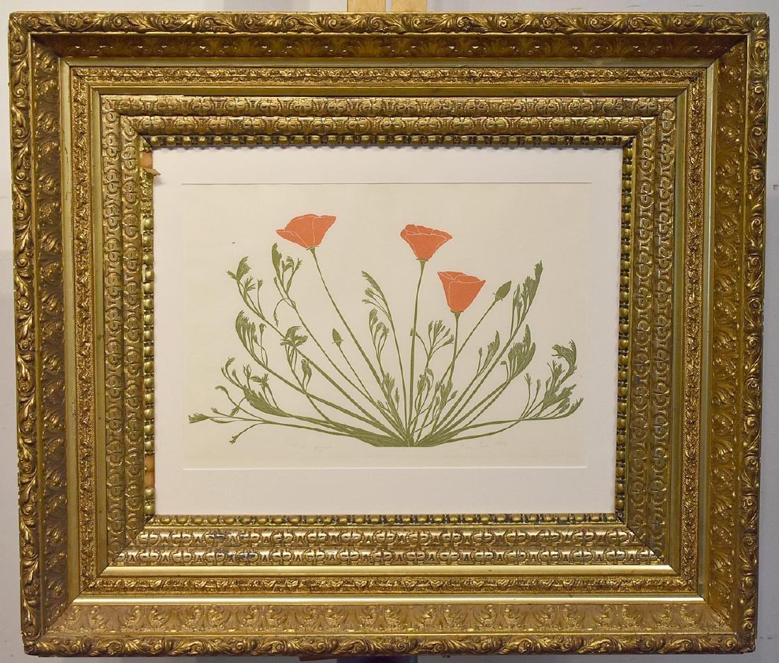 Harry Evans. Woodblock Print, Poppies