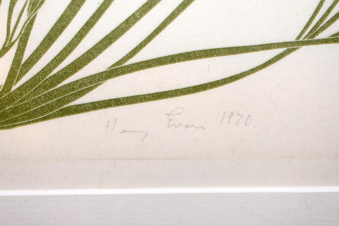 Harry Evans. Woodblock Print, Poppies - 3