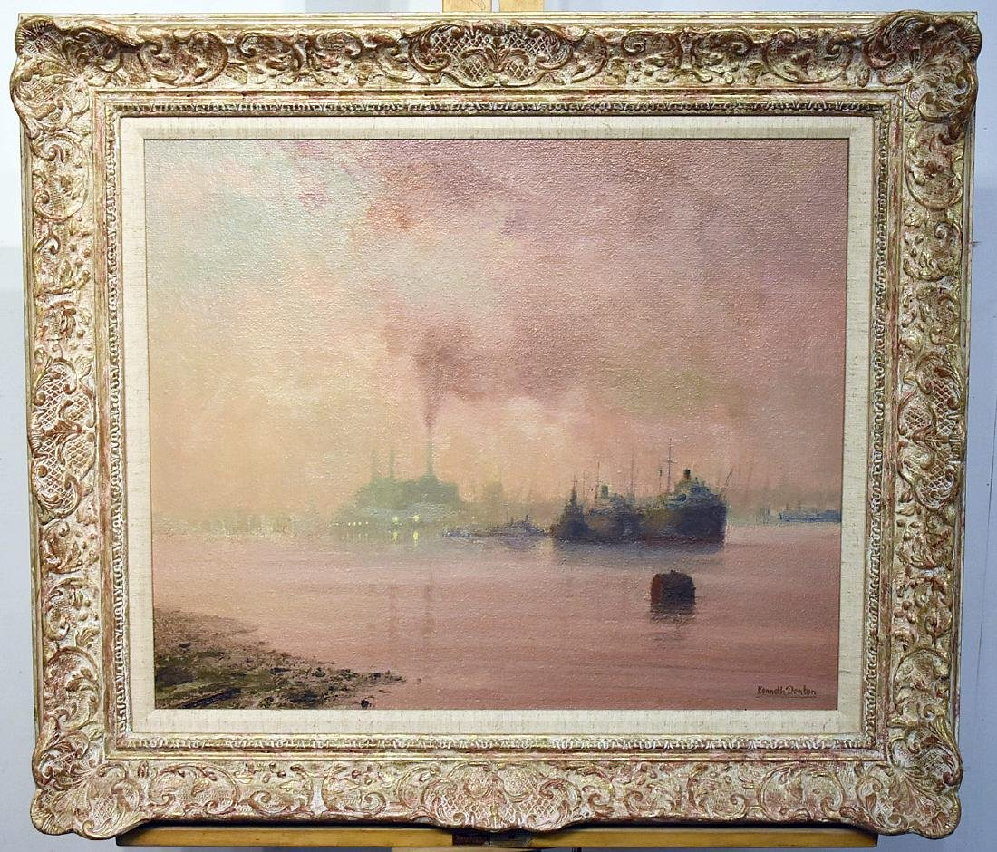 Kenneth Denton. Oil/Panel, Evening, Lower Thames