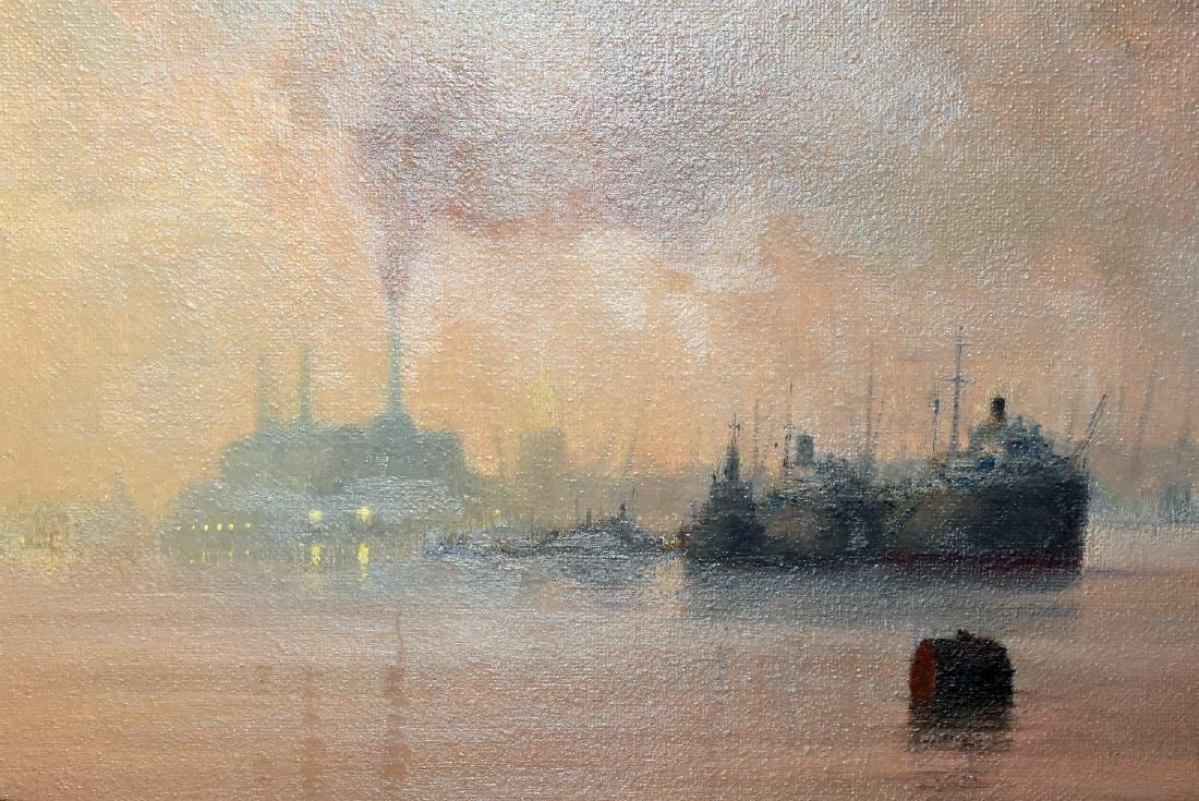 Kenneth Denton. Oil/Panel, Evening, Lower Thames - 2
