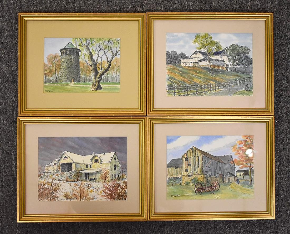 Robert DePuy. Four Watercolor Landscapes