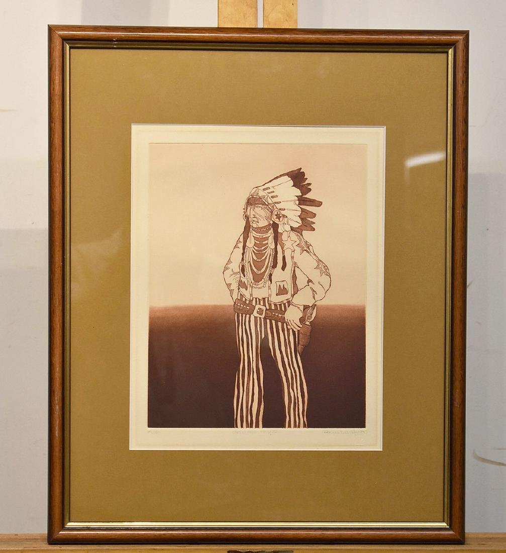 Kevin Red Star. Etching, Crow Reservation Cop IV
