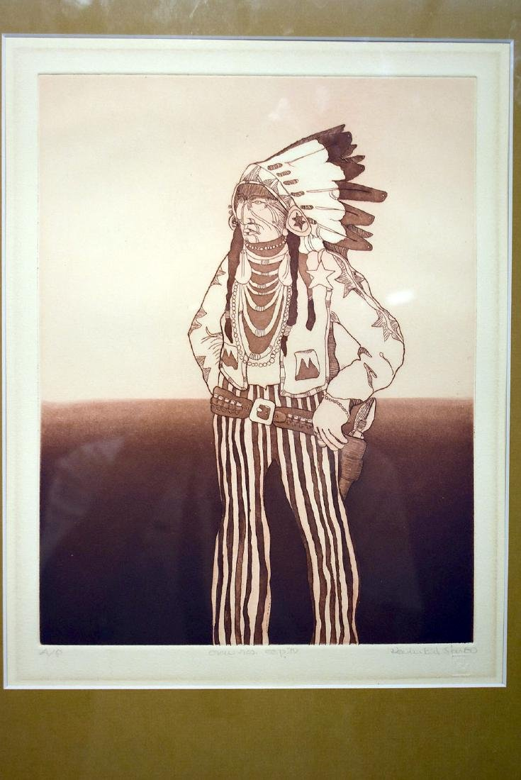 Kevin Red Star. Etching, Crow Reservation Cop IV - 2