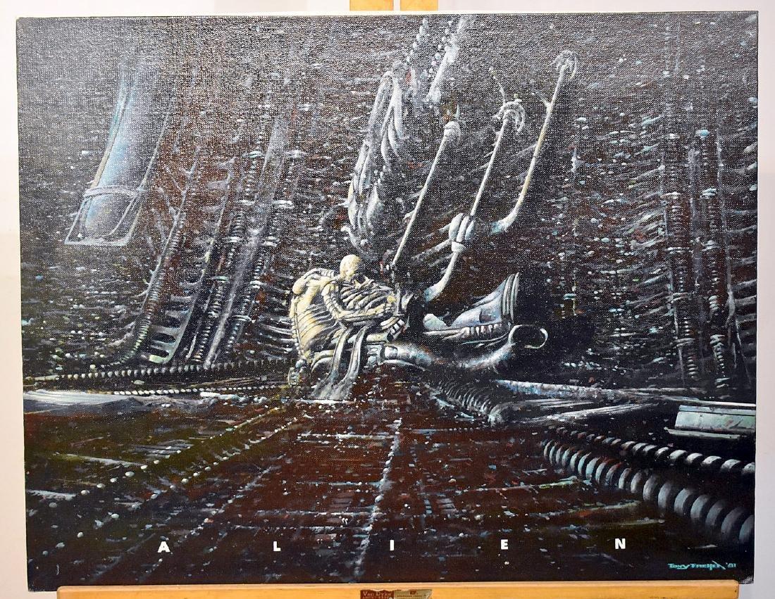 Tony Fachet. Oil on Panel Illustration, Alien